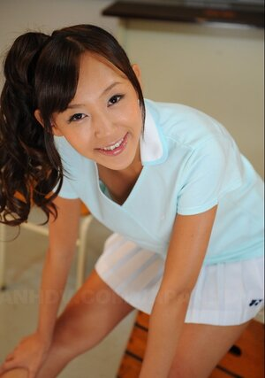 Cheerful Japanese college girl with pigtails is shy about showing titties and vag