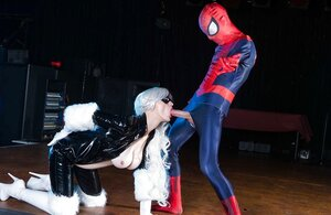 Young and fresh woman with blonde hair called spider-man home to give him a blowjob