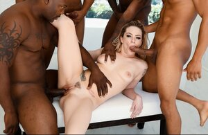 Slutty slut facialized after awesome group sex with four black partners