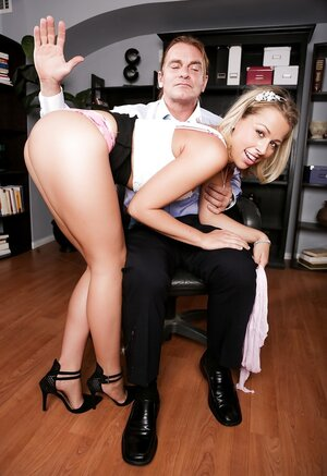 Kitten with glasses made a mistake and additionally boss has to spank her in office