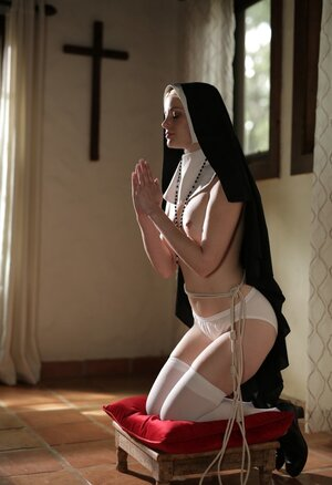 Blonde lesby nun realizes that she is utterly slutty and asks for redemption