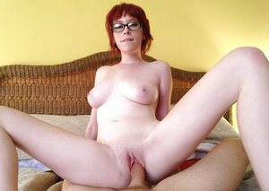 A tiny bit nerdy redhead gal with glasses takes love pole into pale vagina in Point of view pics